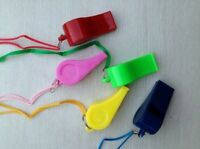 3 X Plastic Whistle Referee Lifeguards Sports Blowing Whistles Coloured String