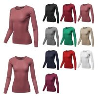 FashionOutfit Women's Basic Casual Solid Long Sleeve Round-Neck Thermal Tops