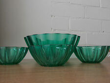 Vintage Antique Collectable Retro Arcoroc Green Bowl & 3 matching smaller ones