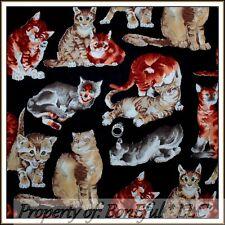 BonEful Fabric FQ Cotton Quilt CAT VTG Calico Lg Breed Kitty Kitten Catnip Tiger
