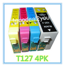 4 Pack T127 XL Ink cartridge For Epson Workforce 545 633 635 845 WF-3540 WF-7510