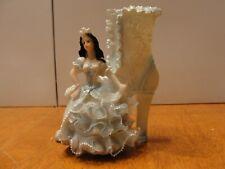 Vintage Girl w/ Blue Dress & Shoe Ceramic Pottery Planter Vase EUC