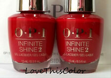 2 x Opi Infinite Shine 2 Lacquer Big Apple Red Cream Lot