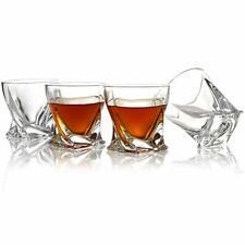 4 SET 10 OZ - Crystal Whiskey Glasses -Twisted Shaped Glasses Tumblers Bourbon