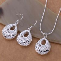 Basket Pendant Necklace and Earrings Set 925 Sterling Silver  NEW
