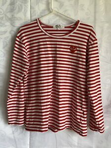 PLAY - Comme des Garcons - long sleeve red & white shirt - size women's L