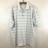 Men's Nike Golf White/Blue Striped Polo Men's SZ XXL