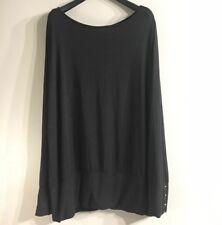 41 Hawthorne Women's Black Jersey Knit Top Dolman Sleeves, Open Back  ~SIZE XXL~