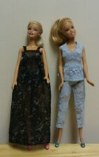 "11 1/2"" Doll Clothing Black Flowered Nightgown plus Blue LaceTop & Leggings"