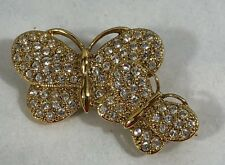Butterflies Brooch Gift Collectible Napier Rhinestones Gold Tone