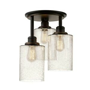Globe Electric Annecy 3-Light Oil Rubbed Bronze Semi-Flush Mount Light 65904 NEW