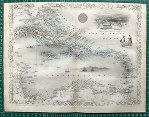 1851 Antique Map; West India Islands by John Tallis / Rapkin