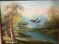 Original R. Danford Painting of Ducks in flight  over water on canvas multicolor