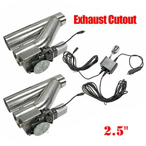 """2Pcs 2.5""""Electric Exhaust Downpipe E-Cut Out Valve + One CONTROLLER REMOTE KIT"""