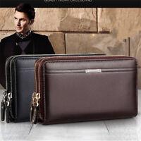 Men's Genuine Leather Business Clutch Handbag Wallet Purse Mobile Phone Bag USA