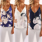 Women's Loose Sleeveless Floral Singlet Vest Summer Casual Beach Blouse Tank Top