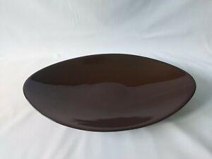 Large Elongated Oval Brown Gloss Glaze Decorative Bowl 40.5x23.5cm Stoneware