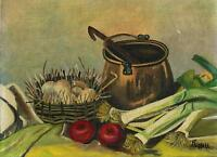 VINTAGE VEGETABLE TOMATOES LEEKS ONIONS EGGS SOUP CROCK POT KITCHEN OIL PAINTING
