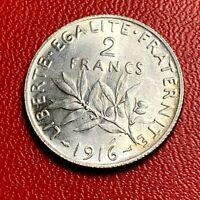 #3792 - RARE - 2 francs 1916 Semeuse Argent SPL - FACTURE