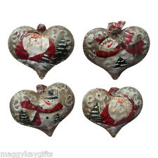 4 PACK - Vintage Metal Heart Christmas Tree Decorations Santa & Snowman Sparkle