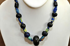 Necklace With Antique Blue Glass and Wooden Beads