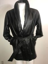Wilsons Black Belted Supple Leather Jacket 3M Thinsulate Removable Lining Trench