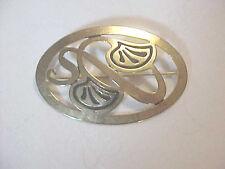 Oval Pin Art Deco Art Nouveau Marked Designer Status Golden  Swirls Inlay
