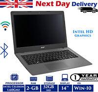 "Aspire One Cloudbook AO1-431 14"" Laptop Intel Celeron 1.60Ghz 2GB RAM 32GB SSD"