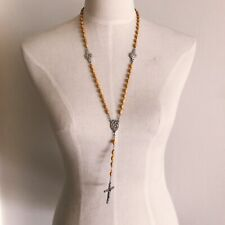 Yellow Wood Rosary Beaded Cross