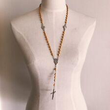 Yellow Wood Rosary Beaded Cross