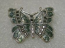 Vintage Silver Tone Butterfly Brooch with Marcasite-like accents - enameled 1.5""