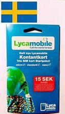 Lycamobile Sweden Sim card Prepaid Plug & Play Free Sms Roaming EU GERMANY