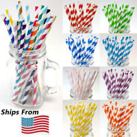 Paper Straws For Drinks Decorations Classic Stripe 100 200 PCS and More Qtys