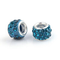 100 Pcs Blue Zircon Brass Cores Polymer Clay Rhinestone European Beads 10x7mm