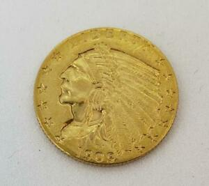 1909 P US Gold $2.50 Indian Coin .1209AGW cleaned L10435