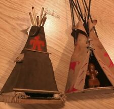 Vintage Native American Indian Leather Teepee Toys 2 w/ Miniature Doll Baby