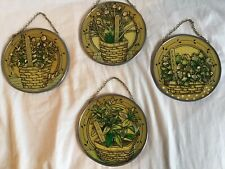 Set of 4 Stained Glass Window Decor Spices - Chives Parsley Sage Oregano *New*