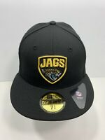"New Era NFL 59FIFTY Black Jacksonville Jaguars 7 5/8"" Fitted Flat Bill, NEW!"