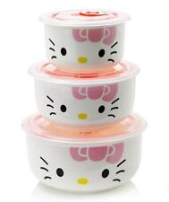 New 3 pcs Hello Kitty Ceramic Food Rice Bowl Storage Containers Set w/lids PINK