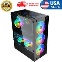 USA PC ATX Mid-Tower Gaming PC Computer Case Tempered Glass ATX/MATX/ITX Case