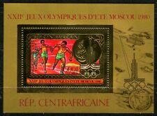 Centre Afrique 1981 Olympic games JO Moscou Gold Foil Or MICHEL bloc 122 a 35 e