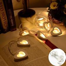 10 LED LOVE HEART STRING FAIRY LIGHT DECOR BEDROOM WEDDING LIGHTS WOODEN LAMPSPa
