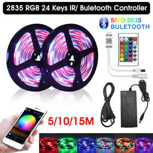 Bluetooth LED Strip Lights 50ft 15M Music Sync Remote Rooms Bar Xmas RGB Lights