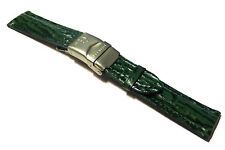 Accurist Green Shark Grained Deployment Leather Watch Strap. 20mm