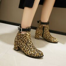 Womens Strap Buckle Leopard Ankle Boots Casual Block Heel Round Toe Zip Up Shoes