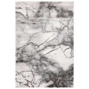 Craft Gray/Silver 4 Ft. X 6 Ft. Distressed Abstract Area Rug