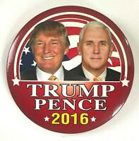 DONALD TRUMP--MIKE PENCE 2016 Presidential Campaign Pinback BUTTON 3""