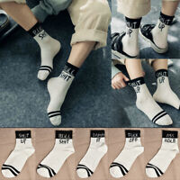 Fashion Men Women Design Funny Cotton Sport Casual Letter Skateboard Socks JT