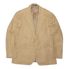 Vintage POLO RALPH LAUREN Beige Regular 90s Herringbone Blazer Coat Mens M