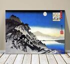"Beautiful Japanese Art ~ CANVAS PRINT 32x24"" ~ Hiroshige Full Moon & Mountain"